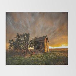 Basking in the Glow - Old Barn In Warm Sunlight in Oklahoma Throw Blanket