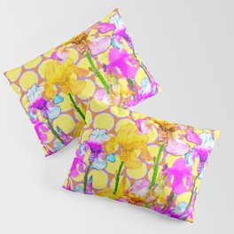 FUCHSIA-YELLOW IRIS GARDEN DESIGNS Pillow Sham