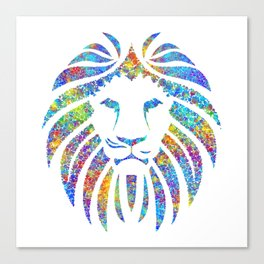 Colorful Watercolor Lion Canvas Print