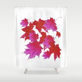 PURPLE-fuchsia maroon color blowing leaves Shower Curtain