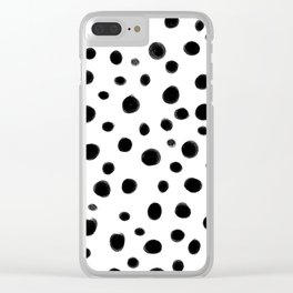 Black and White Brush Dots Clear iPhone Case