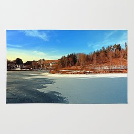 Frozen river panorama | waterscape photography Rug