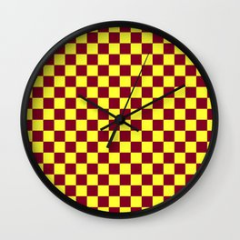 Electric Yellow and Burgundy Red Checkerboard Wall Clock