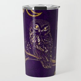 Golden Owl Crescent Moon Travel Mug
