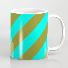 Cyan Blue And Army Khaki Green Stripes Coffee Mug