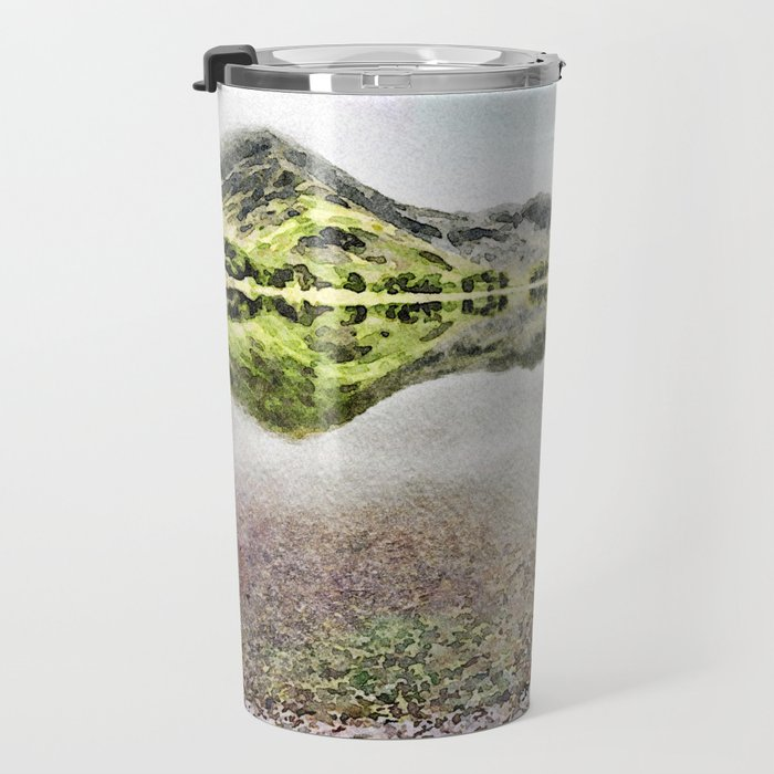 Buttermere Mirror Green Mountains, Lake District, UK. Watercolour landscape. Travel Mug