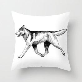 Siberian Husky Movement Study Throw Pillow