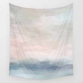 Blush Pink Mint Sky Baby Blue Abstract Ocean Sky Sunrise Wall Art, Water Clouds Painting Wall Tapestry