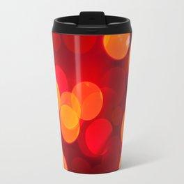 Red yellow sparkles and circles bokeh abstract Travel Mug