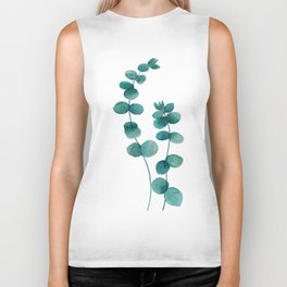 green eucalyptus watercolor Biker Tank