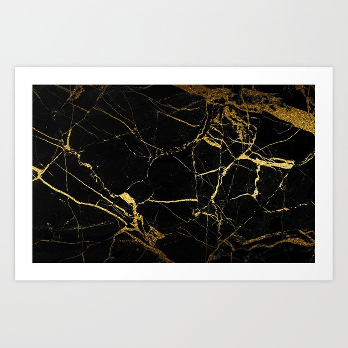 back & gold marble Art Print