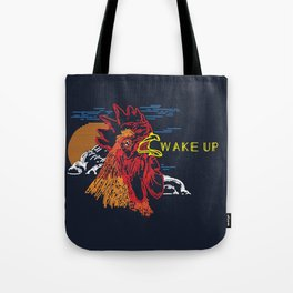 Wake Up Monoline Rooster Graphic Tote Bag
