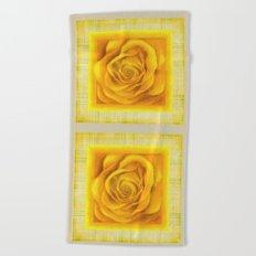 Yellow Rose On Plaid Beach Towel