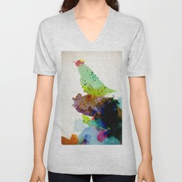 Bird standing on a tree Unisex V-Neck