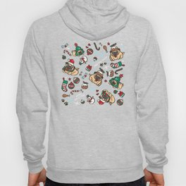Christmas pattern with pugs Hoody