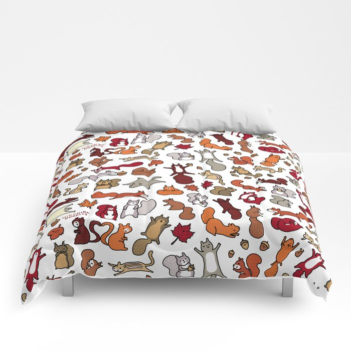Squirrels in Fall Doodle Comforters