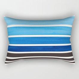 Prussian Blue Minimalist Watercolor Mid Century Staggered Stripes Rothko Color Block Geometric Art Rectangular Pillow