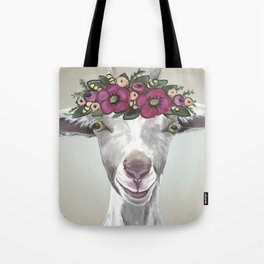 Flower Crown Goat Tan, Cute Goat Painting Tote Bag