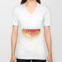 watermelon V-neck T-shirts featuring watermelon  by Soso Creation
