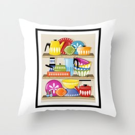 Cathrineholm Pottery Displayed On Kitchen Shelves Print Throw Pillow