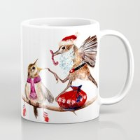 santa Mugs featuring Santa by Anna Shell