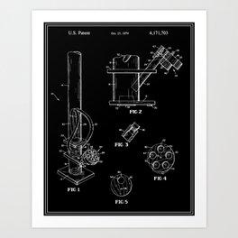 Bong Patent - Black Art Print