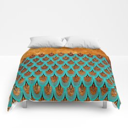 Copper Metal Foil and Aqua Mermaid Scales- Abstract glitter pattern Comforters