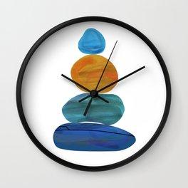 Coastal Chic Watercolour Stone Stack Meditation Wall Clock