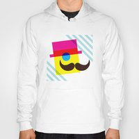 mid century Hoodies featuring Mid Century Mustache Man - CMYK by Modern South Design