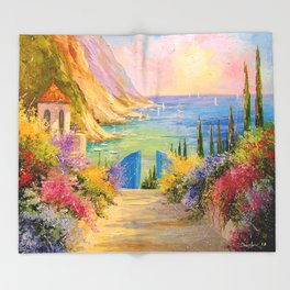 Road to the sea Throw Blanket