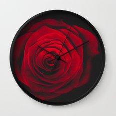 Red rose on black background vintage effect Wall Clock