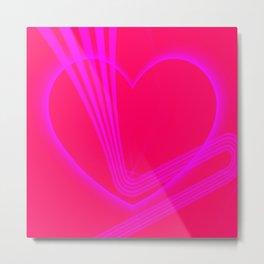 Pink Heart w/Pink Zigzag Lines Metal Print