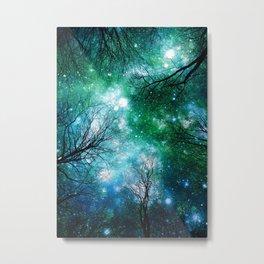 Black Trees Teal Green Space Metal Print