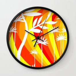 Orange and Yellow Ombre Gradient Background with White Botanical Plant Wall Clock