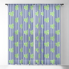 Lime Slices on Navy and White Stripes Sheer Curtain