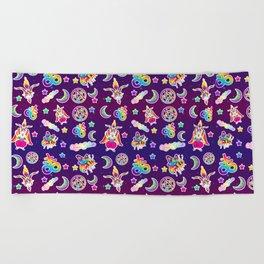 1997 Neon Rainbow Occult Sticker Collection Beach Towel