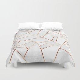 White Stone & Copper Lines Duvet Cover