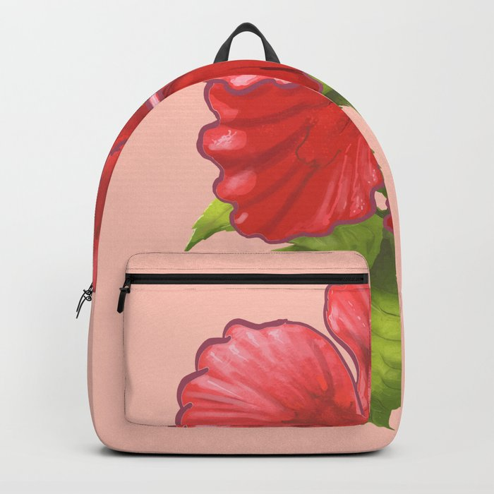 Pink Hibiscus Flower Backpack By Newburydesigns Society6
