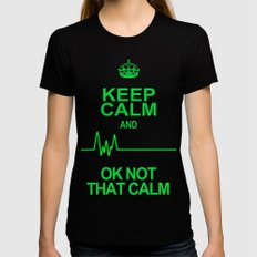 Keep Calm Womens Fitted Tee LARGE Black