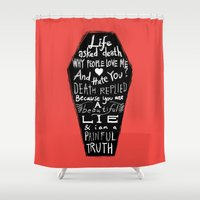 zappa Shower Curtains featuring Life asked death... by Picomodi