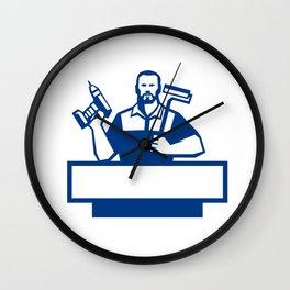 Handyman Bearded Cordless Drill Paintroller Retro Wall Clock