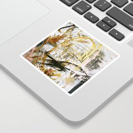 Armor [9]:a bright, interesting abstract piece in gold, pink, black and white Sticker