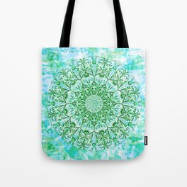 Ocean Aqua Blue Watercolor Mandala , Relaxation & Meditation Turquoise Flower Circle Pattern Tote Bag