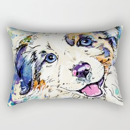 Aussie Pup - Australian Shepherd Dog Painting Rectangular Pillow