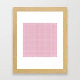 Cameo pink - pink color - White Lines Grid Pattern Framed Art Print