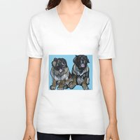 simba V-neck T-shirts featuring Simba and Snuffaluffagus the Leonbergers by Pawblo Picasso