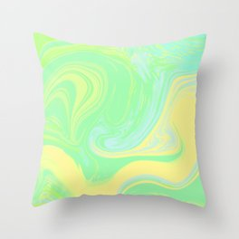 Lime Green Marble. Digital Suminagashi Liquid Color Abstraction Throw Pillow