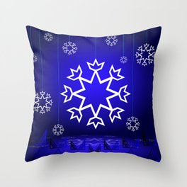 Xmas Blue with snowflake and tipi Throw Pillow