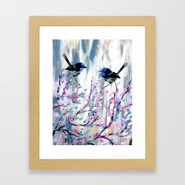 Pink and Grey prints with cherry blossom Framed Art Print