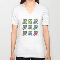 cartoon V-neck T-shirts featuring Cartoon Owls by Ron Trickett